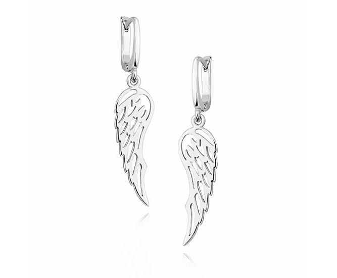 a965ef096ad96f Eleganckie rodowane wiszące srebrne kolczyki celebrytka skrzydła skrzydełka  wings srebro 925 KS0157D