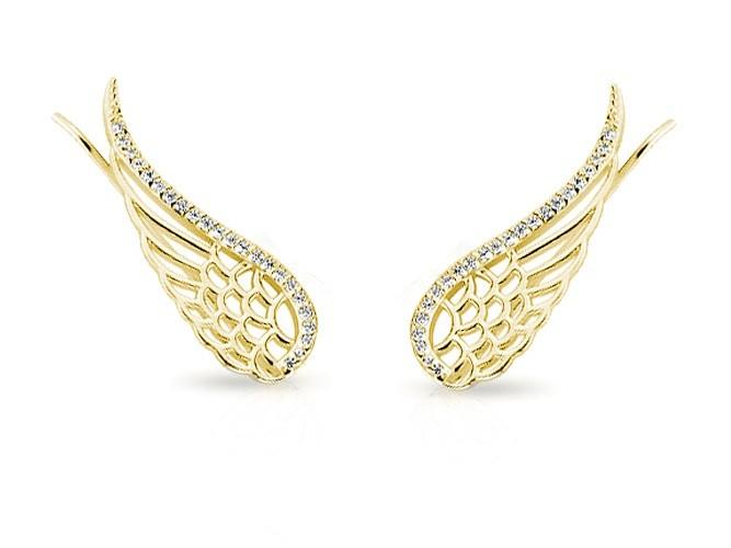 fb6c3bd354b60d Eleganckie pozłacane srebrne kolczyki nausznice skrzydła skrzydełka z  cyrkoniami srebro 925 Z1606E_G