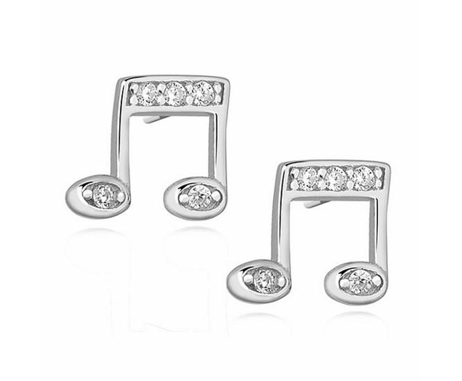 618e8a1e2c3350 Delikatne rodowane srebrne kolczyki nutki nuty z cyrkoniami srebro 925  Z1125E
