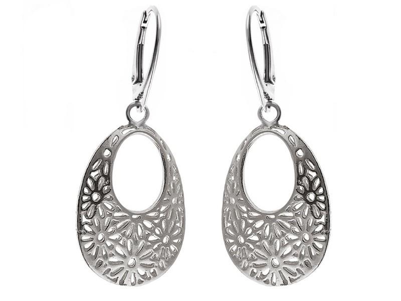 d3c672884d15 Eleganckie ażurowe wiszące srebrne kolczyki kwiat kwiatki ażur srebro 925  K1352