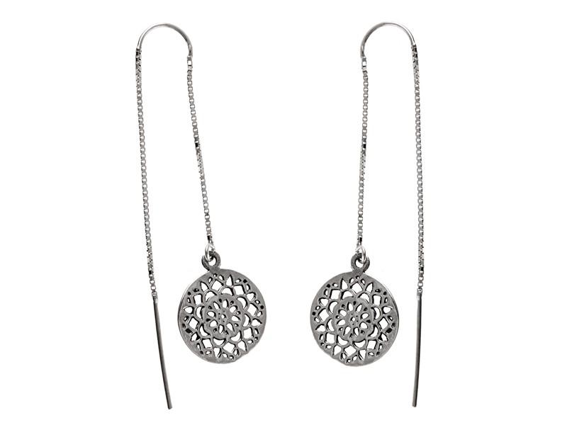 e6d16d1d51f8 Delikatne długie przewlekane oksydowane srebrne wiszące kolczyki orientalne ażurowe  srebro 925 K1729